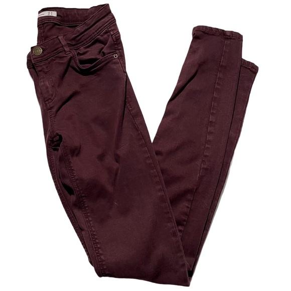Zara Trafaluc Skinny Jeans Maroon Size 4